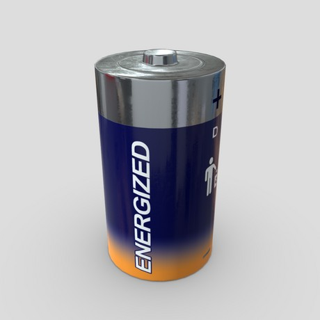 Battery D - low poly PBR 3d model