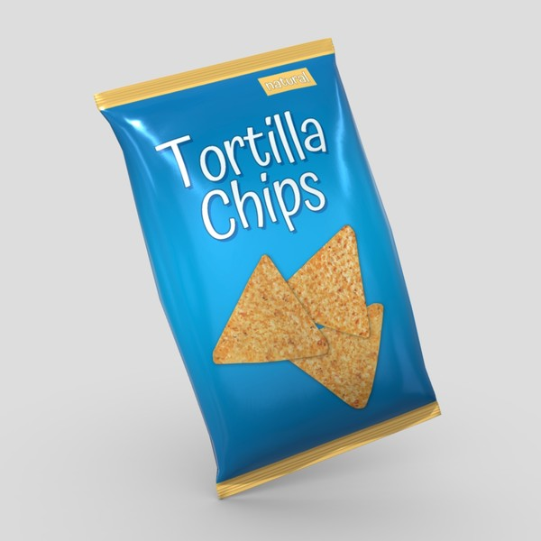 Tortilla Chips Bag - low poly PBR 3d model