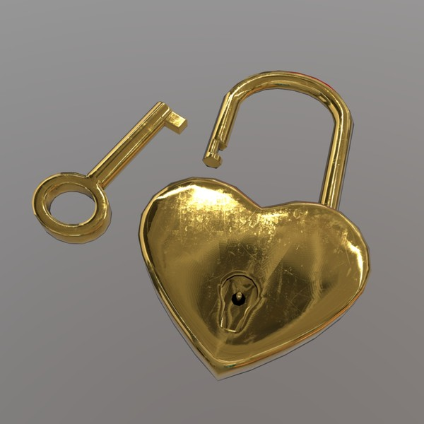 Heart Lock - low poly PBR 3d model