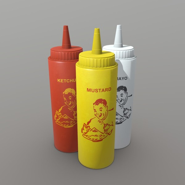 Ketchup, Mustard and Mayo - low poly PBR 3d model