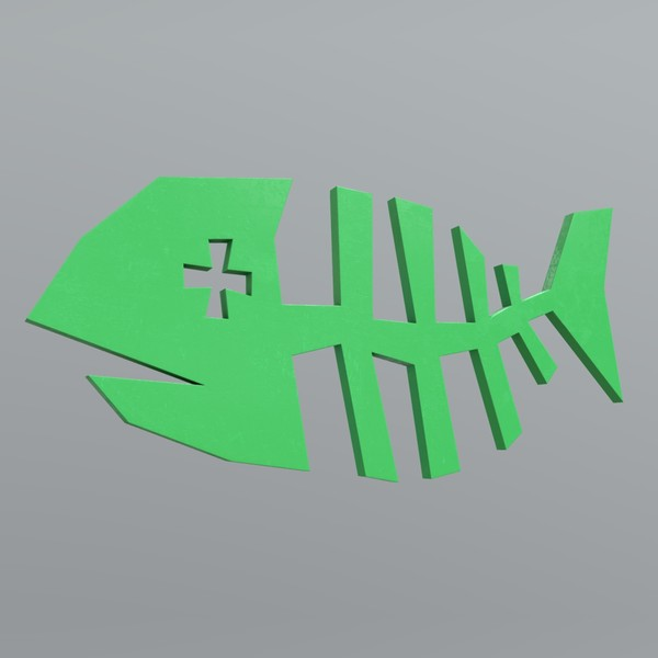 Fishbone - low poly PBR 3d model