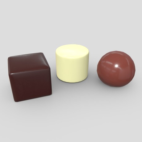 Pralines - low poly PBR 3d model
