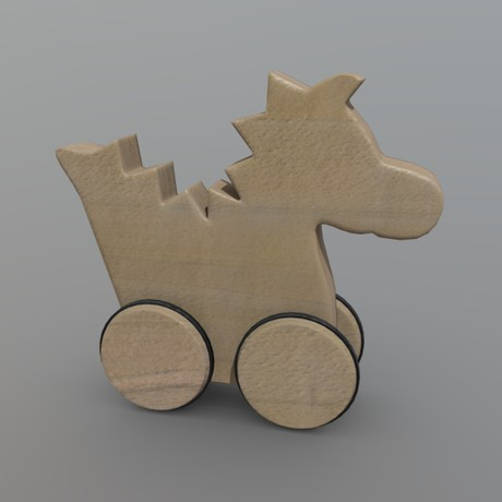Wooden Dragon Toy - low poly PBR 3d model