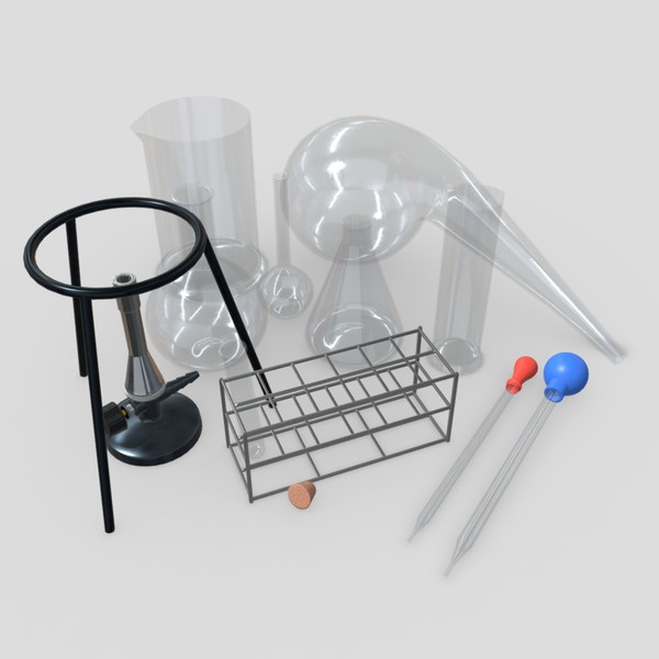 Laboratory Flask Pack - low poly PBR 3d model