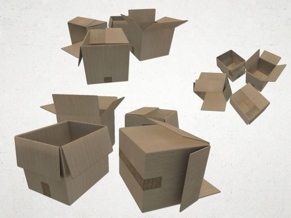 Cardboard Box Set - 3D Model
