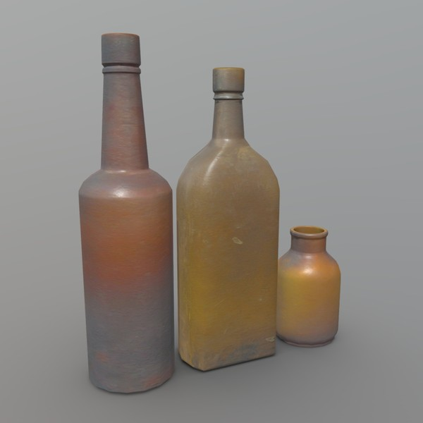 Bottles 2 - low poly PBR 3d model