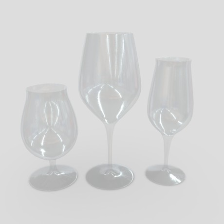 Glass Set - low poly PBR 3d model
