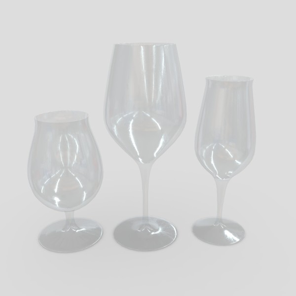 Glass Set - low poly PBR 3d model
