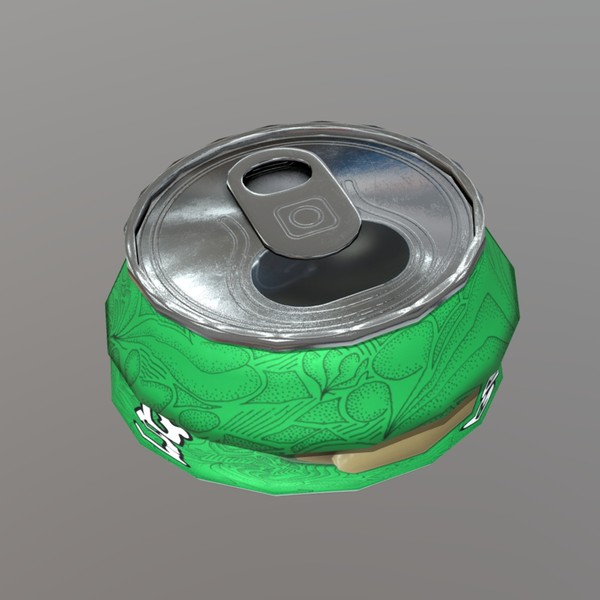 Beverage Can Deformed 3 / Liquid Mushroom - low poly PBR 3d model