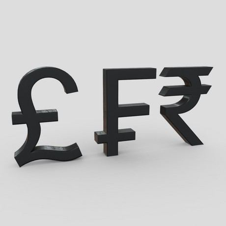 Currency Symbols 2 - low poly PBR 3d model