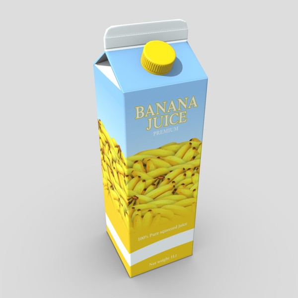 Banana Juice - low poly PBR 3d model