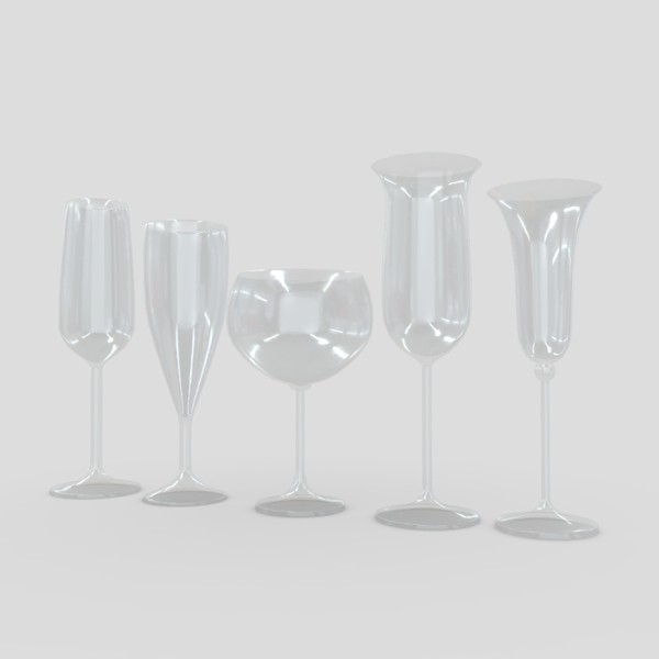 Cocktail Glass Set 2 - low poly PBR 3d model