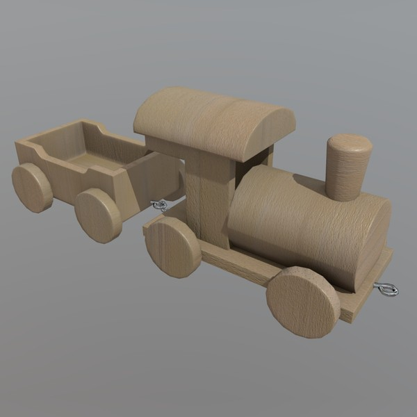 Wooden Train - low poly PBR 3d model