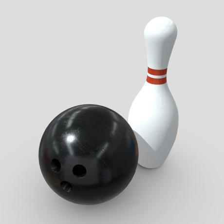 Bowling Ball and Pin - low poly PBR 3d model