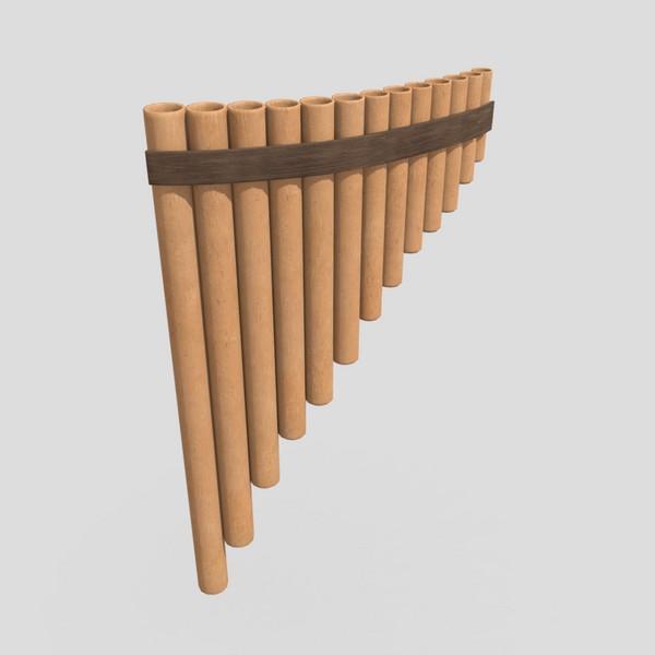 Panpipe - low poly PBR 3d model