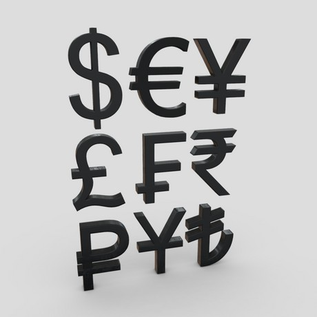 Currency Symbols Pack - low poly PBR 3d model
