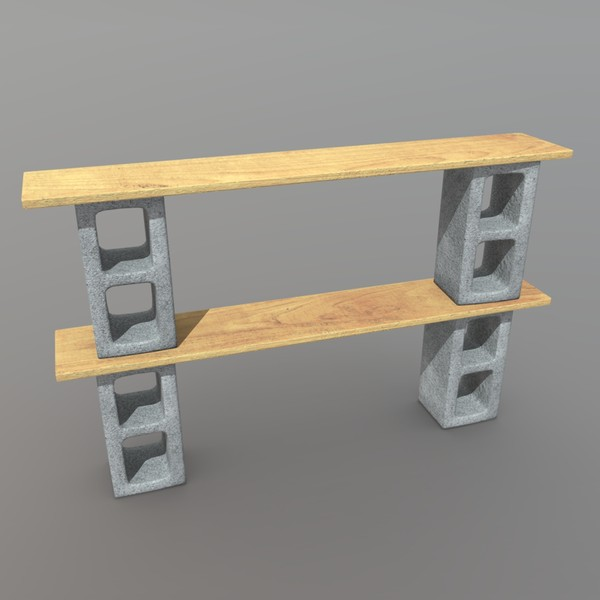 Shelf 2 - low poly PBR 3d model