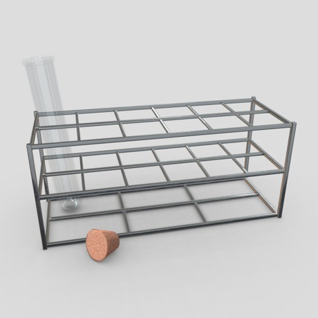 Test Tube Rack - low poly PBR 3d model