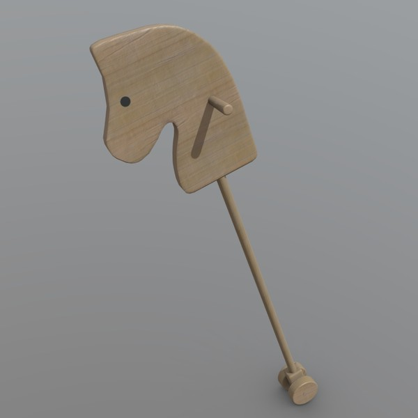 Horse on Stick - low poly PBR 3d model