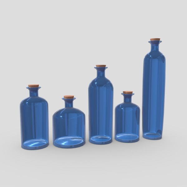 Blue Bottles - low poly PBR 3d model