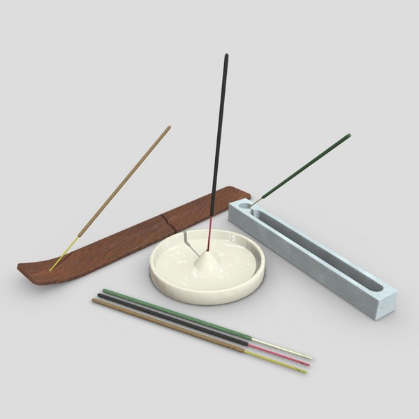 Incense Burner Pack - low poly PBR 3d model