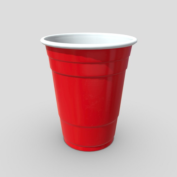 CC0 - Red Cup - low poly PBR 3d model