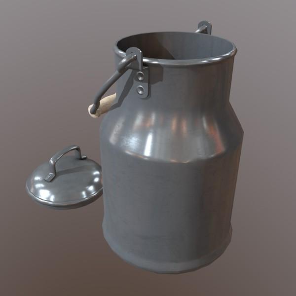 Milk Churn - low poly PBR 3d model