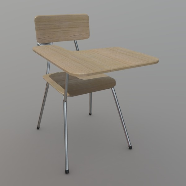 School Desk - low poly PBR 3d model