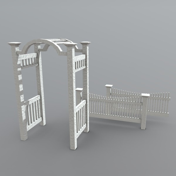 Arbor with Fence - low poly PBR 3d model