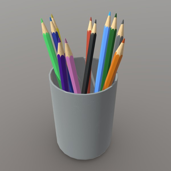 Pencil Holder - low poly PBR 3d model