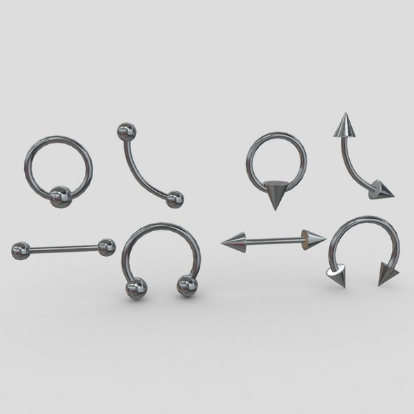 Piercings Pack - low poly PBR 3d model