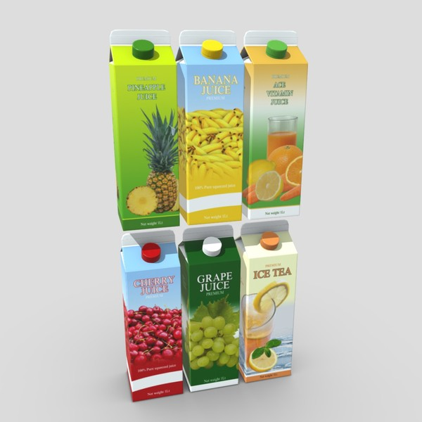 Juice Carton Pack 2 - low poly PBR 3d model