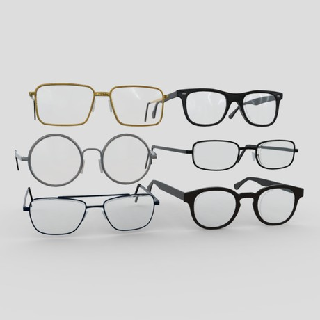 Glasses Pack - low poly PBR 3d model
