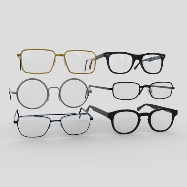 Glasses Pack - low poly PBR 3d model
