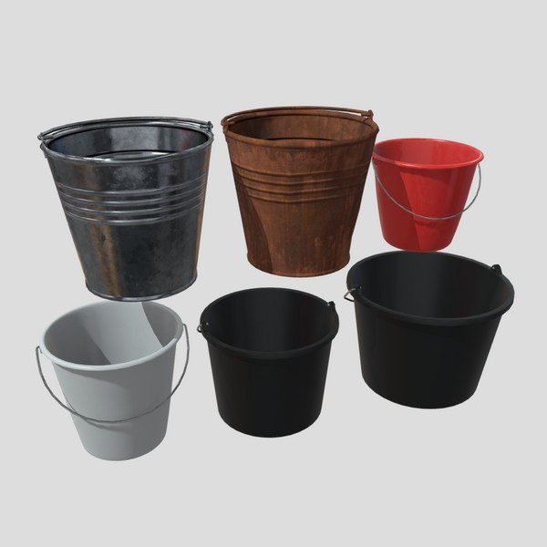 Bucket Pack - low poly PBR 3d model