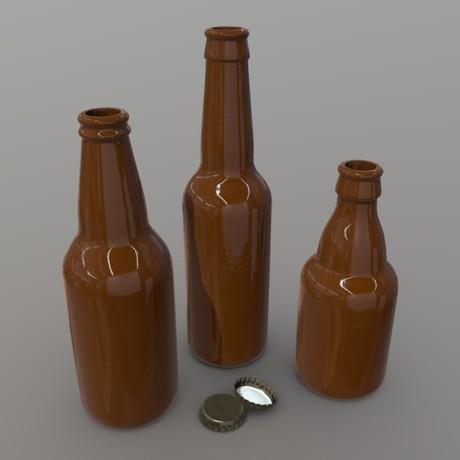 Beer Bottle - low poly PBR 3d model