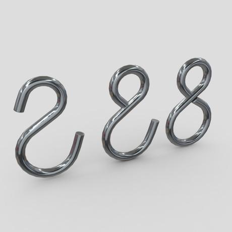 Hook Set - low poly PBR 3d model
