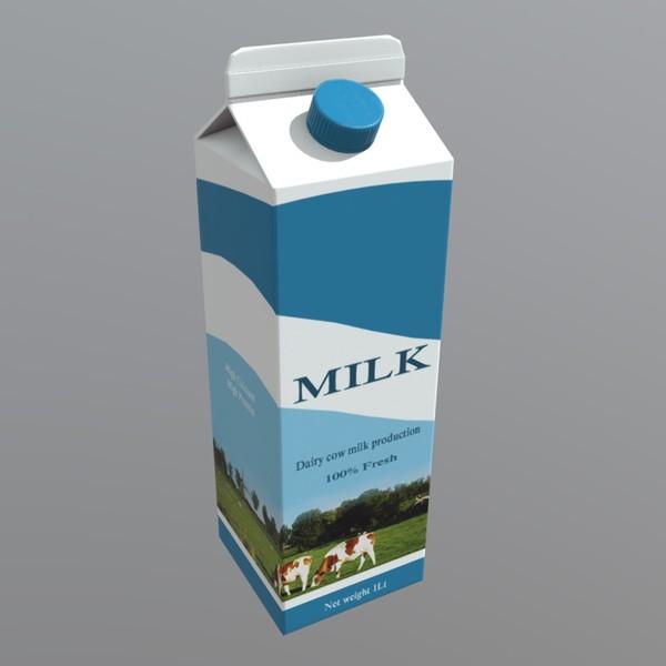 Milk Carton - low poly PBR 3d model