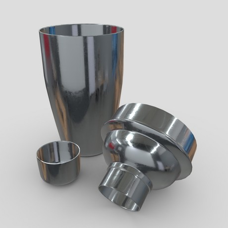 Cocktail Shaker Open - low poly PBR 3d model