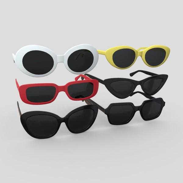 Sunglasses Pack - low poly PBR 3d model