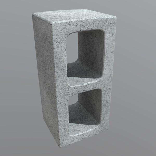 Cinderblock - low poly PBR 3d model
