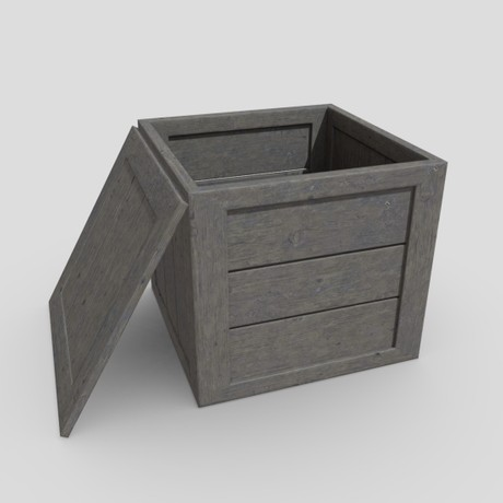 Wooden Box - low poly PBR 3d model