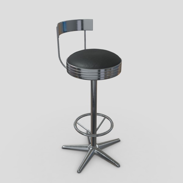 Stool 5 - low poly PBR 3d model