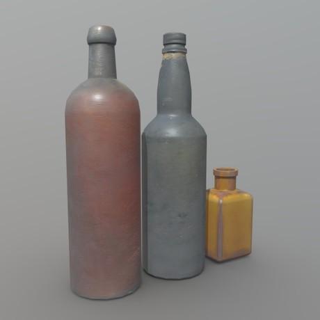 Bottles - low poly PBR 3d model