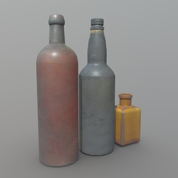 Bottles - low poly PBR 3d model