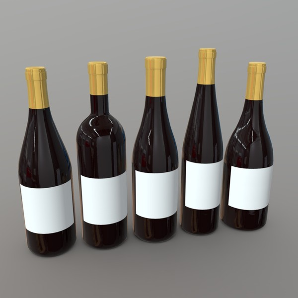 Wine Bottles - low poly PBR 3d model