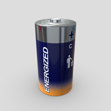 Battery C - low poly PBR 3d model