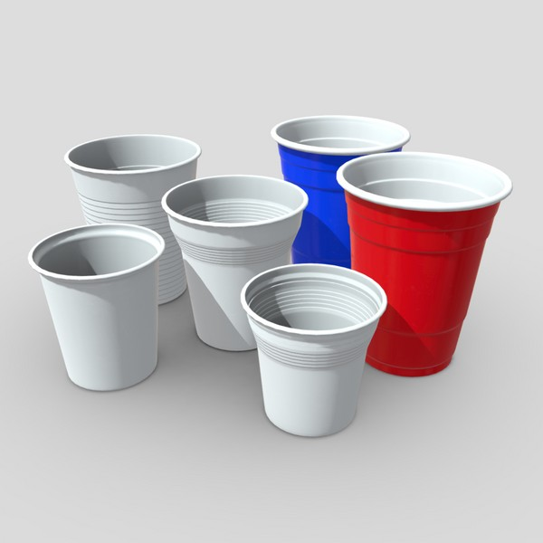Plastic Cup Pack - low poly PBR 3d model