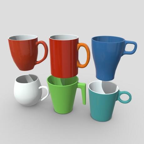 Mug Pack - low poly PBR 3d model