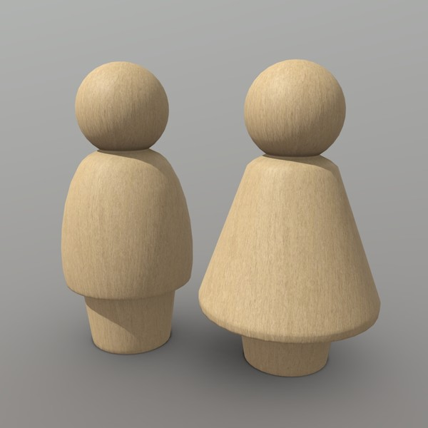 Wooden Toy People - low poly PBR 3d model